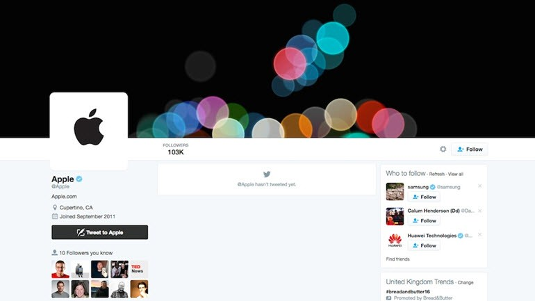 apple twitter hesabı